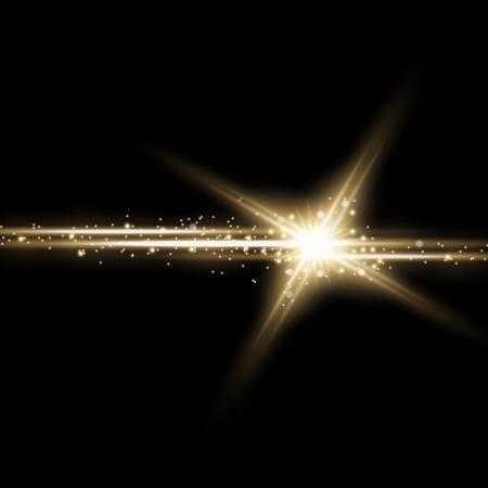 Glänzender Stern mit einem Stardust, Lichtern und Explosionen funkelt mit Sternenstaub auf schwarzem Hintergrund, Lichteffekt, goldene Farbe Vektorgrafik