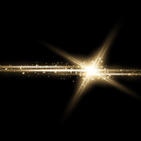 Shining star with a stardust , lights and bursts sparkles with stardust on black background, light effect, golden color Stock Illustratie