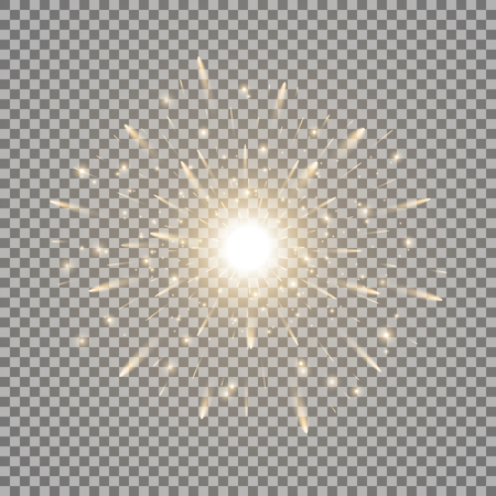 Glowing light with sparks, star burst with sparkles on transparent illustration. Vettoriali