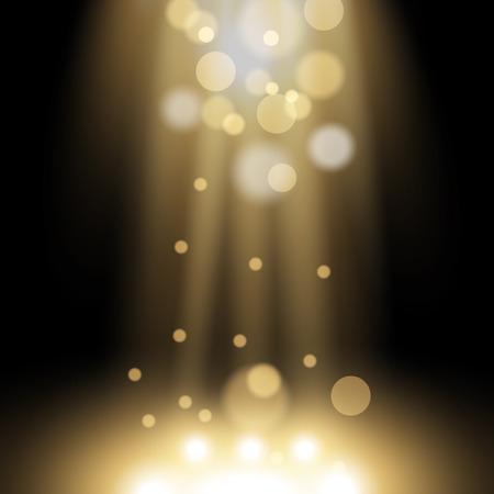 Light effect with particles spark of light on black pattern illustration. Illustration