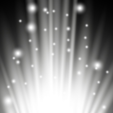 Light flare from below with sparkles on black background, light effect, white color Vettoriali