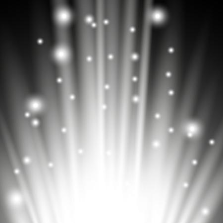 Light flare from below with sparkles on black background, light effect, white color Ilustração