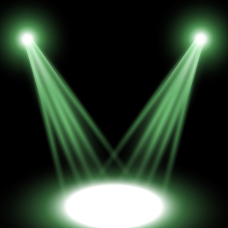 Vector spotlight, light effect isolated on black background, green color
