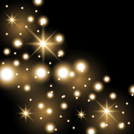 Star way with sparkles on black background, glitter stars, light effect, golden color