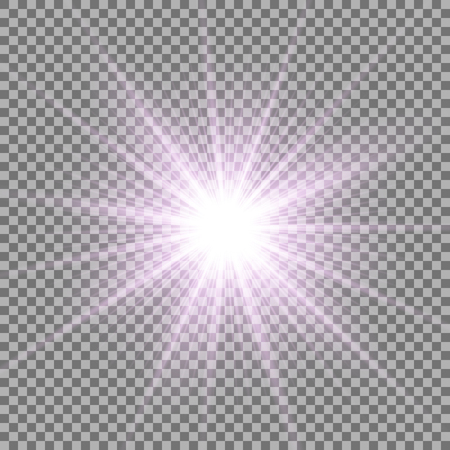 Sunlight with lens flare effect, shining star on transparent background, light effect, purple color Vettoriali