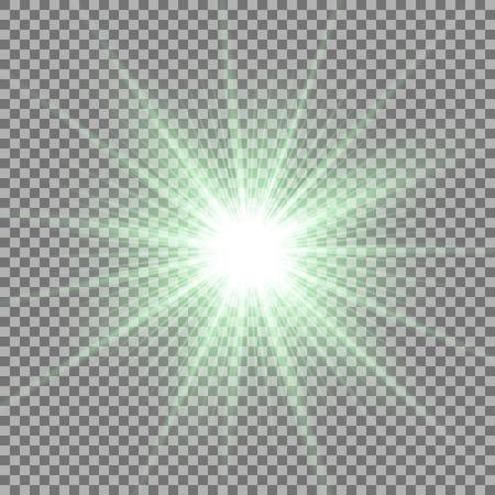 Lumière du soleil avec effet de lumière parasite, étoile brillante sur fond transparent, effet de lumière, couleur verte Banque d'images - 94236781