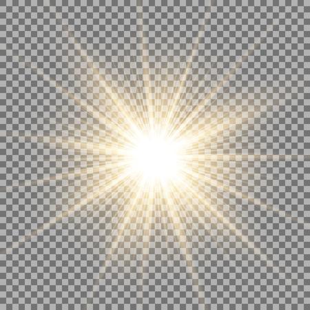 Lumière du soleil avec effet de lumière parasite, étoile brillante sur fond transparent, effet de lumière, couleur dorée