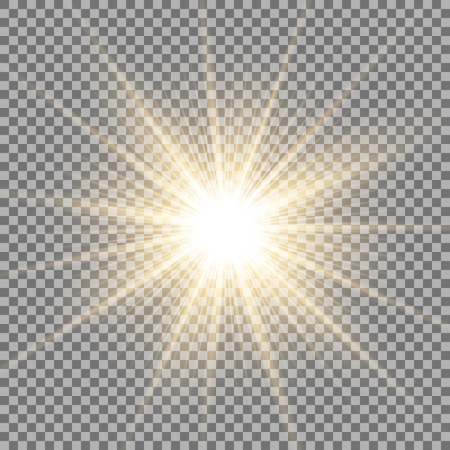 Sunlight with lens flare effect, shining star on transparent background, light effect, golden color