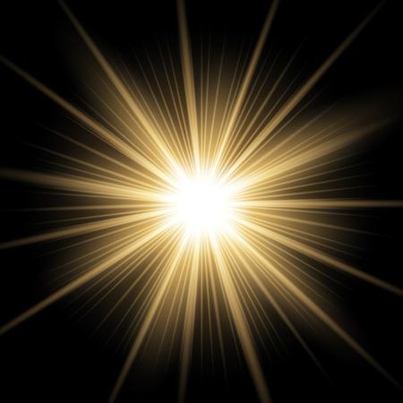 Sonnenlicht mit dem Blendenfleckeffekt, glänzender Stern auf schwarzem Hintergrund, Lichteffekt, goldene Farbe Vektorgrafik