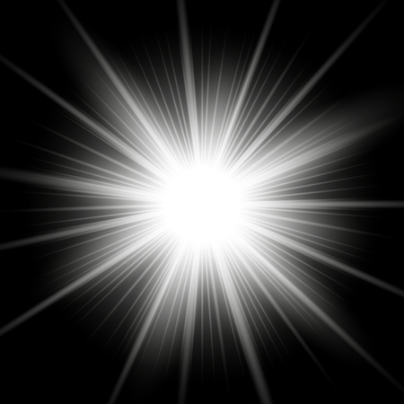 Sunlight with lens flare effect, shining star on black background, light effect, white color