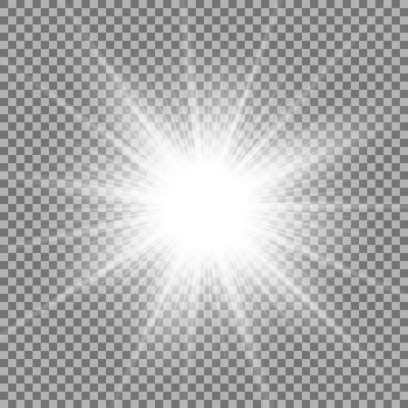 Lumière du soleil avec effet de lumière parasite, étoile brillante sur fond transparent, effet de lumière, couleur blanche Vecteurs