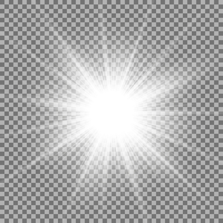 Sunlight with lens flare effect, shining star on transparent background, light effect, white color
