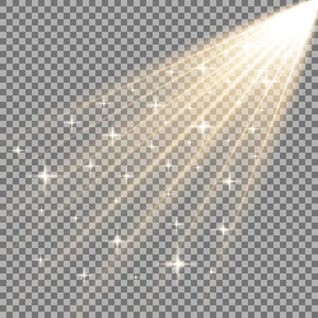 Rays of light with stars, isolated on transparent background, light effect, golden color Vettoriali