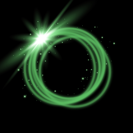 Light ring with tracing effect. Glitter sparkle swirl trail on black background, light effect, green color Illustration