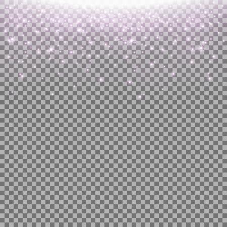 Glittering stardust on transparent background, sparkling particles, light effect, purple color