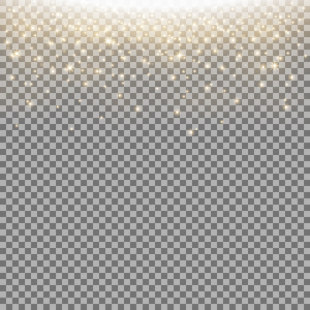 Glittering stardust on transparent background, sparkling particles, light effect, golden color