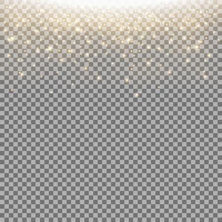 Glittering stardust on transparent background, sparkling particles, light effect, golden color