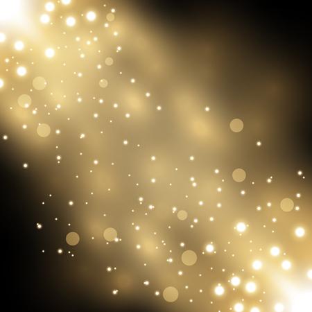 Glittering particles background effect, sparkling texture, stardust sparks on black background, light effect, golden color Illustration