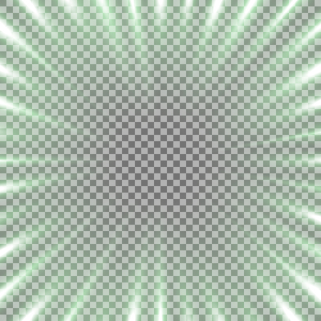 Abstract background with free space in the center, light effect on transparrent background, green color.