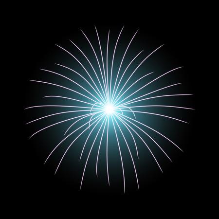 Vector festive firework bursting on black background, light effect, aqua color
