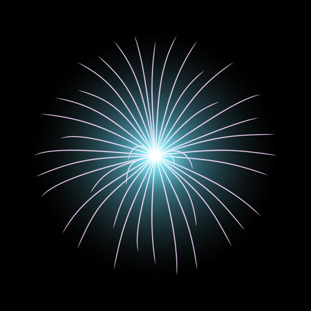 Vector festive firework bursting on black background, light effect, aqua color