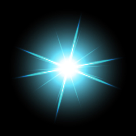 Sunlight with lens flare effect, shining star on black background, light effect, aqua color.