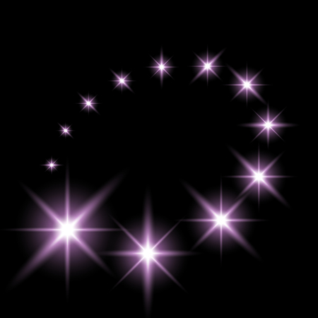 Glittering flying stars with star dust, glowing stars on black background, light effect, purple color.