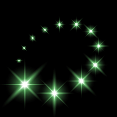 Glittering flying stars with star dust, glowing stars on black background, light effect, green color.