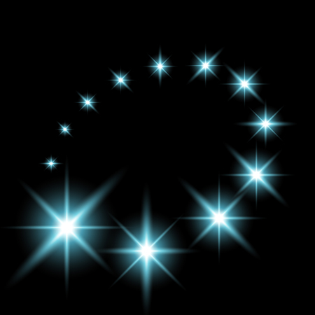 Glittering flying stars with star dust, glowing stars on black background, light effect, aqua color.