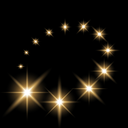 Glittering flying stars with star dust, glowing stars on black background, light effect, golden color.