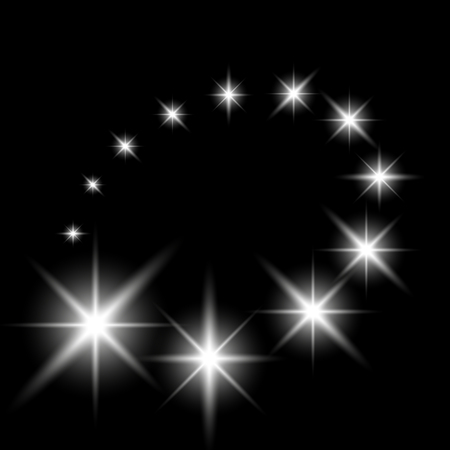 Glittering flying stars with star dust, glowing stars on black background, light effect, white color. Illustration