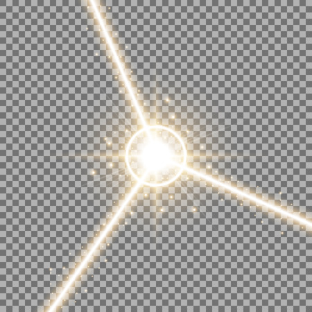 Abstract laser beams with light circle and stardust on transparent background, light effect, golden color