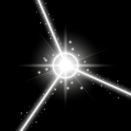 Abstract laser beams with light circle and stardust on black background, light effect, white color Illustration