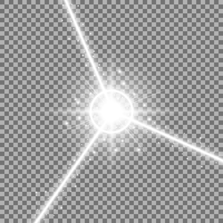 Abstract laser beams with light circle and stardust on transparent background, light effect, white color