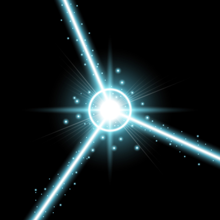 Abstract laser beams with light circle and stardust on black background, light effect, aqua color Illustration