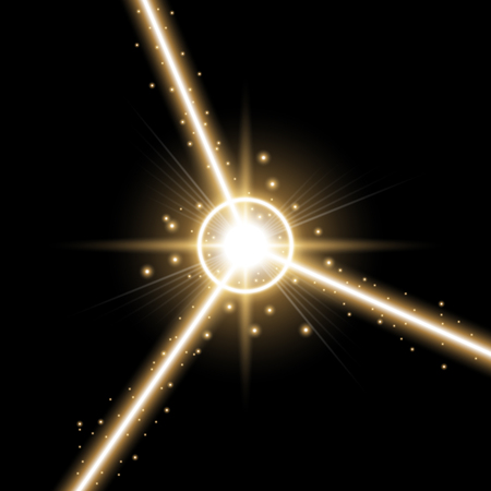 Abstract laser beams with light circle and stardust on black background, light effect, golden color Illusztráció