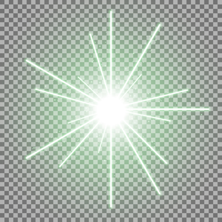 Abstract laser beams with light circle and sparks on transparent background, light effect, green color Illustration