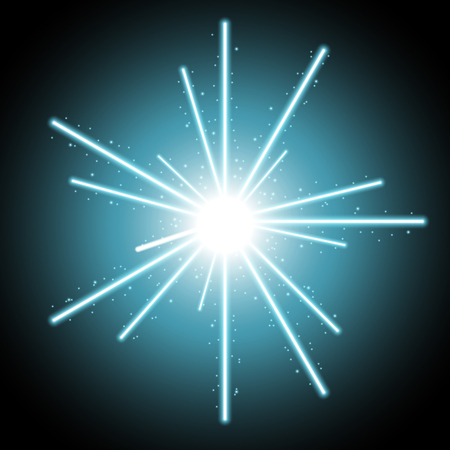 Abstract laser beams with light circle and sparks on black background, light effect, aqua color