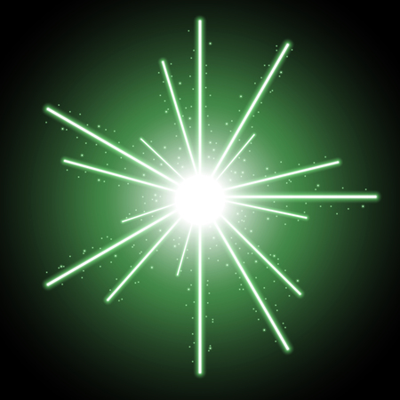 Abstract laser beams with light circle and sparks on black background, light effect, green color