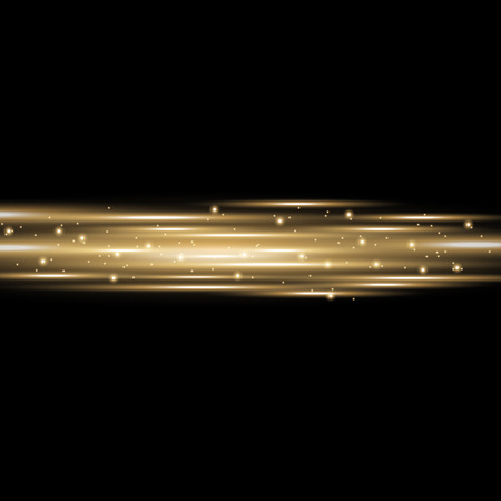 Horizontal lens flares, light rays with sparks on black background, light effect, golden color