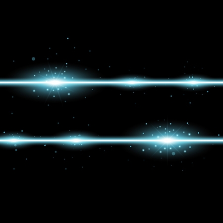 Two lines with lights and sparks on black background, light effect, aqua color Illustration