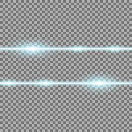 Two lines with lights and sparks on transparent background, light effect, aqua color
