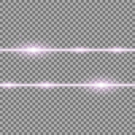 Two lines with lights and sparks on transparent background, light effect, purple color