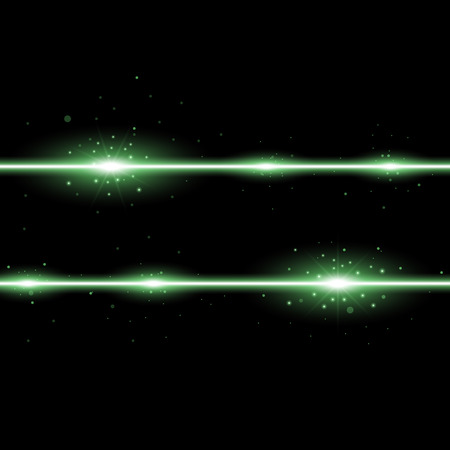 Two lines with lights and sparks on black background, light effect, green color
