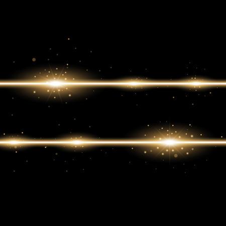 Two lines with lights and sparks on black background, light effect, golden color Illustration