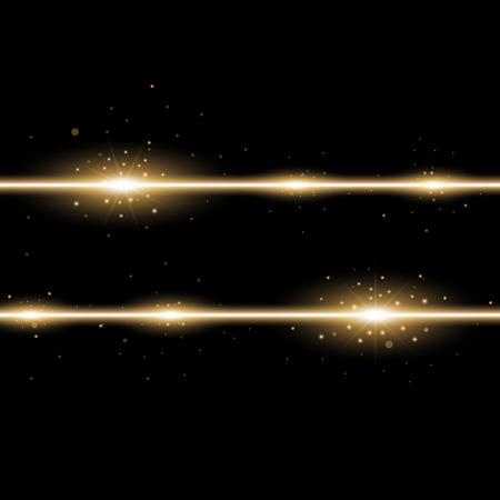 Two lines with lights and sparks on black background, light effect, golden color Stock Illustratie