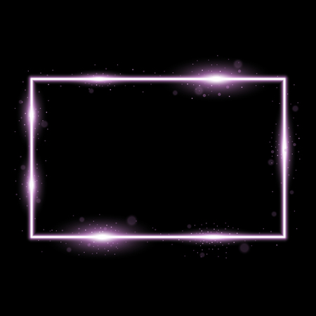 Frame with light effects, laser square with sparks on black background, light effect, purple color