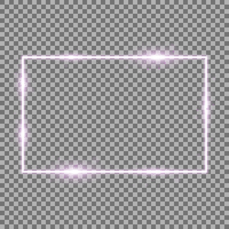 Frame with light effects, laser square with sparks on transparent background, light effect, purple color