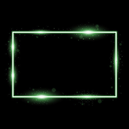 Frame with light effects, laser square with sparks on black background, light effect, green color Stock Illustratie