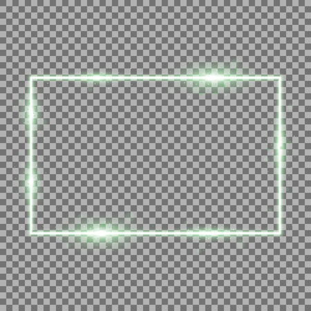 Frame with light effects, laser square with sparks on transparent background, light effect, green color